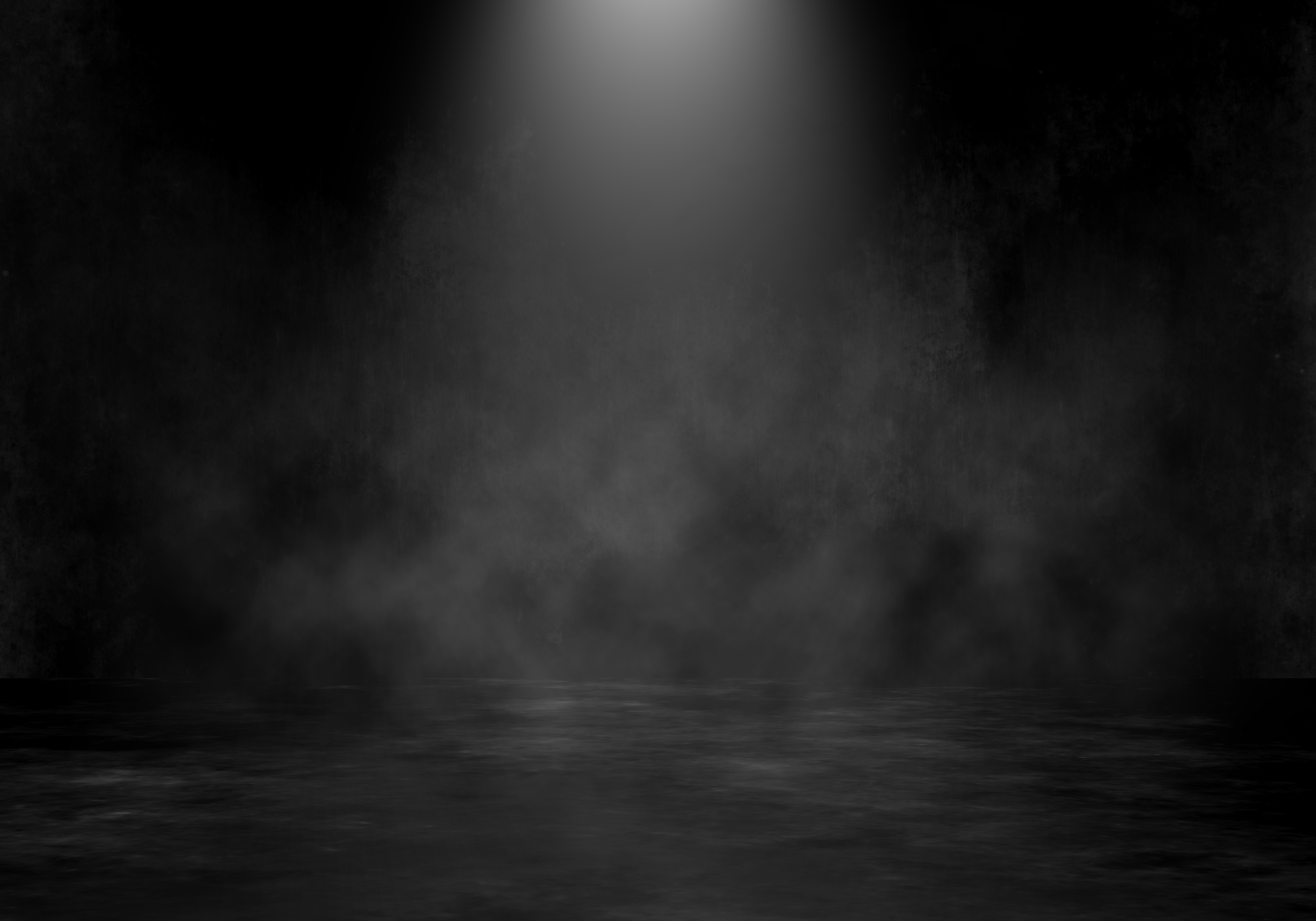 3D grunge room interior with spotlight and smoky atmosphere